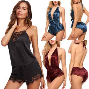 e900c6c1ce034 Sexy Women Satin Lingerie Bodysuit Lace Deep V-neck Backless ...