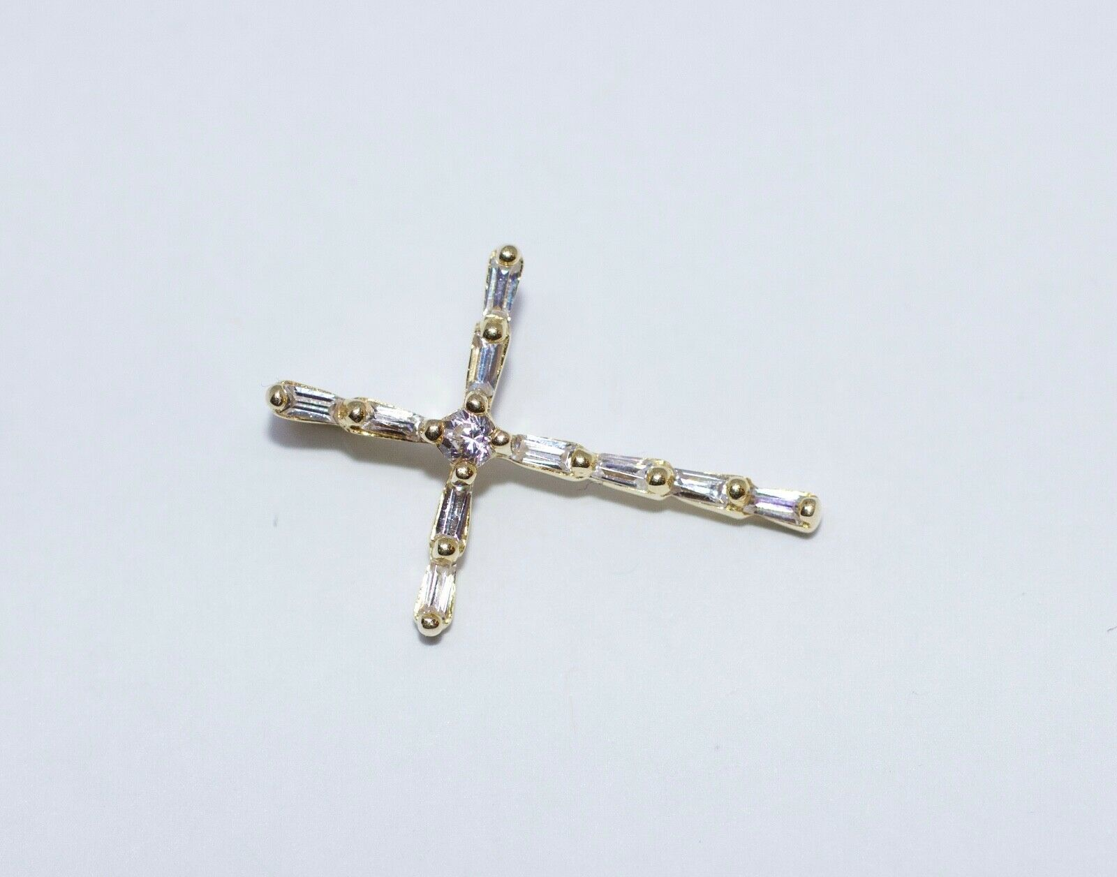 10k Yellow gold Baguette And Round CZ Cross Pendant 21.5mm Tall