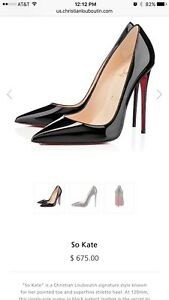 100-Auth-Christian-Louboutin-So-Kate-120-Patent-Leather-Black-Pumps-Heels-37