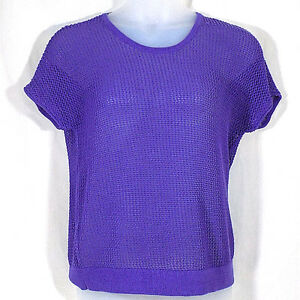 45531b73224a Chicos 2 sweater womens purple semi sheer short sleeve pullover ...