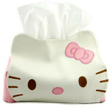 Leather Pink Cat Home Bathroom Decor Toilet Car Papper Tissue Box Cover Holder
