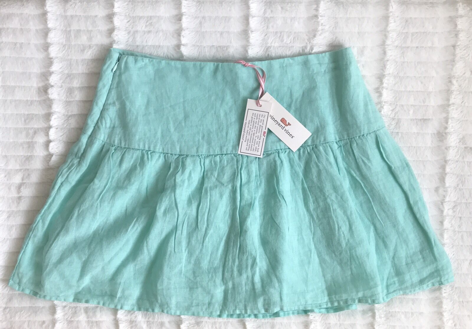 Vineyard Vines Women's 100% Linen Crystal bluee Pleated Mini Skirt Size 2 NWT  88