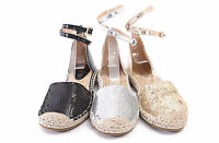 New Espadrilles Ankle Wrap Glitter Flat Shoes Womens Summer Sandals All Sizes