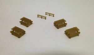 Outland-Models-Railroad-Park-Garden-Picnic-Table-x4-and-Bench-x2-Set-HO-Scale