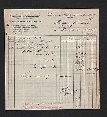 Streng Varigney-par-conflans, Rechnung 1934, Usines De Varigney Fonderie Ateliers