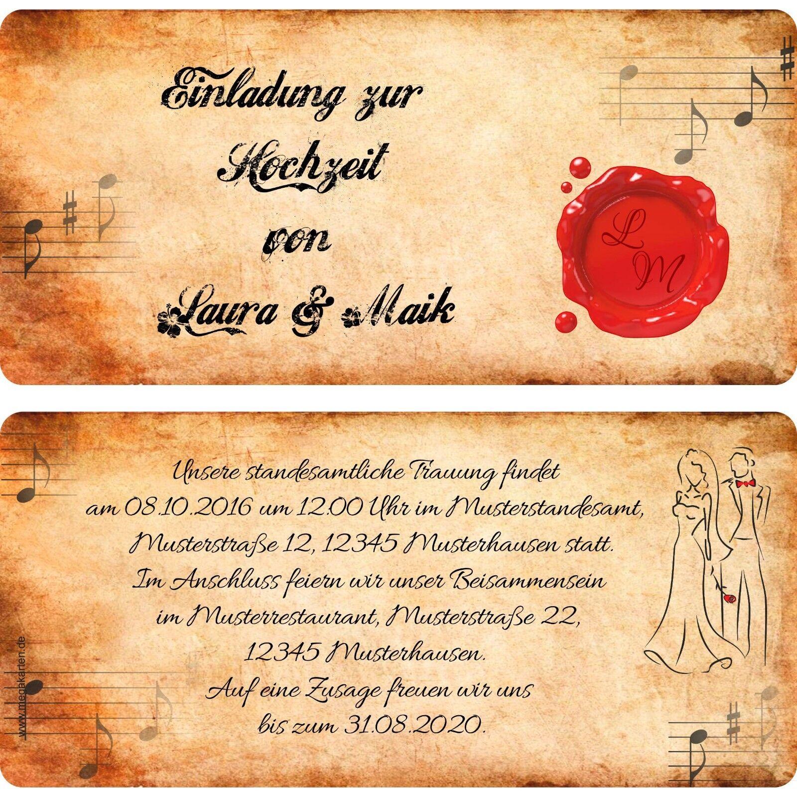 10, 20, 30. Einladungskarten zur Hochzeit • Einladung mit Siegel | Ästhetisches Aussehen  | Verschiedene Stile und Stile