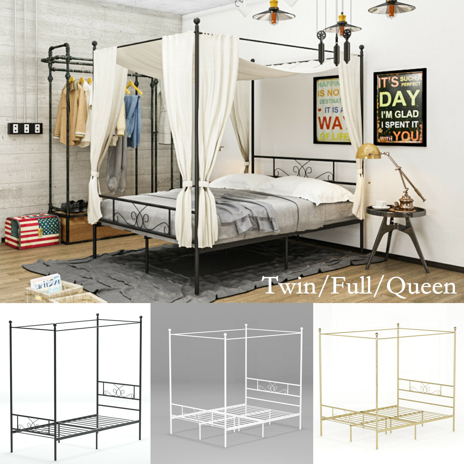 Metal Canopy Bed Frame Twin Full Queen Tiendamia Com