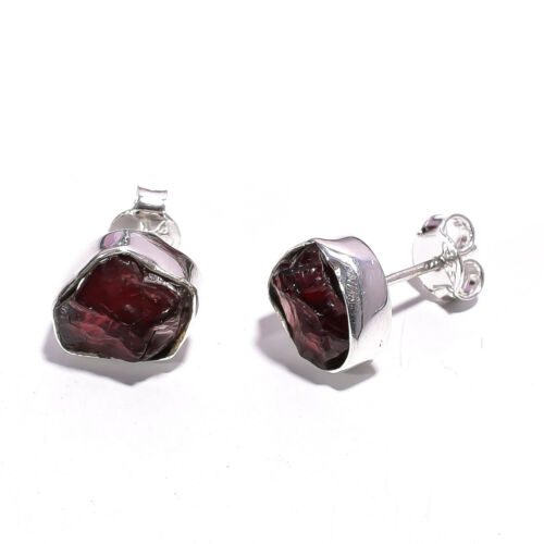 925 Sterling Silver Stud Earrings Natural Raw Gemstone Fashion Jewelry RSSE57