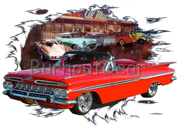 1959 Red Chevy Impala Congreenible b Hot Rod Diner T-Shirt 59 Muscle Car Tees
