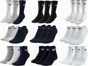 Nike-3-Pairs-Mens-Womens-Ankle-Quarter-Low-Sports-Gym-Socks-Cotton-Black-White
