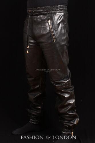 in vera uomo pelle morbida jogging in da nera Pantalone da da jogging agnello di pelle qwnFHR1