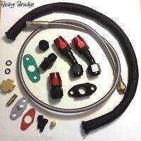Turbo Oil Drain Return + Feed Line T3 T4 T04e T60 T61 T70 Complete Kit Black