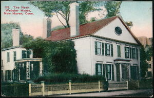 NEW-HAVEN-CT-Noah-Webster-House-Vintage-Town-View-Old-Postcard-Connecticut