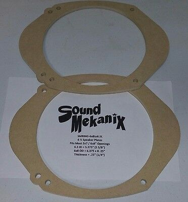 """Temperate Mdf Speaker 5x7"""" Spacer Rings 6x8"""" To 6.5"""" Large 1/4"""" Adaptor One Pair Carefully Selected Materials"""