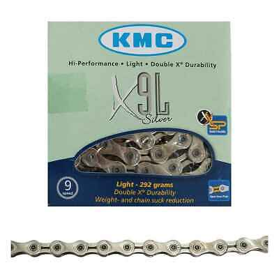 KMC X9L Silver Light 9 Speed Chain For Road /& MTB Cycling
