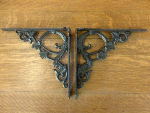 "2 BROWN ANTIQUE-STYLE 9.5/"" SHELF BRACKETS CAST IRON rustic garden LEAF SWIRL"
