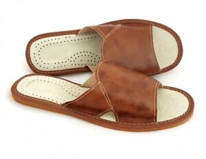 MENS-MEN-SLIP-ON-SLIPPERS-SLIDERS-SHOES-UK-SIZE-6-7-8-9-10-11-12-MULES-LEATHER