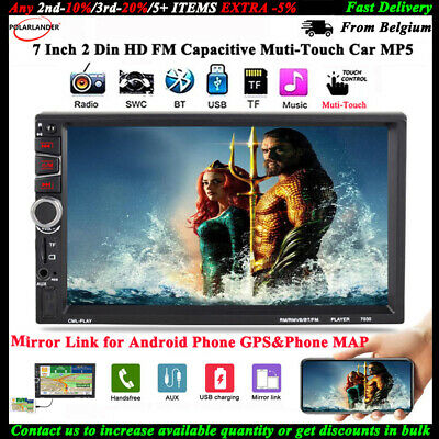 """7/"""" Car Stereo Radio MP5 Player Bluetooth Touch Mirror Link USB AUX FM 2 DIN US"""