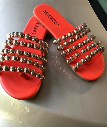 Beautiful orange slides mules beads studs