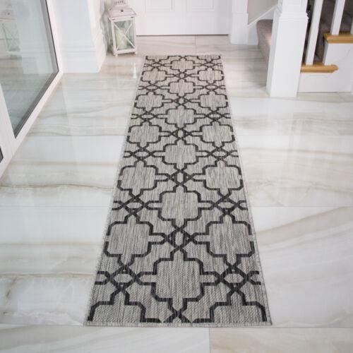 Moroccan Trellis Grey Flatweave Rug Easy Clean Washable Indoor Outdoor Rugs NEW