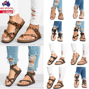 Details about Women Gladiator Summer Sandal Flip Flop Ankle Strap Clip Toe Flat Beach Shoes