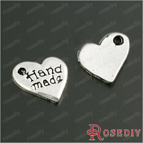 (28511)Jewelry Accessories,Charms,Antique Silver Alloy Handmade Heart 100PCS