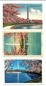 3-Vintage-1940s-Washington-DC-Postcards-Washington-Monument-Cherry-Blossoms