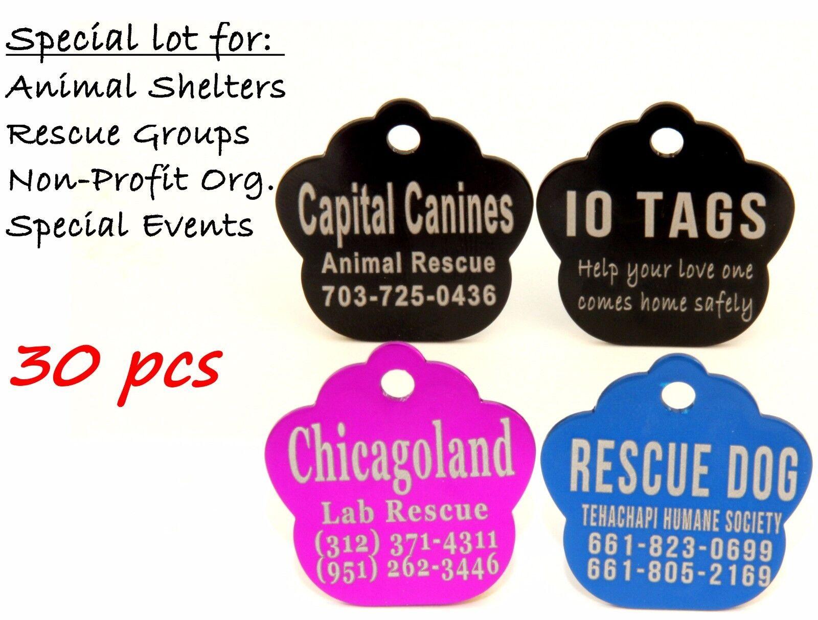 Bulk Lot Pet ID Tag Dog Cat for Shelter Rescue Non Profit Lot 30