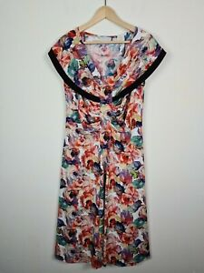 VINTAGE Headlines AU Made Floral Sailor Fit & Flare Ruched Dress Women's Size 16