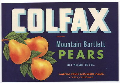 COLFAX Vintage Pear Crate Label, blue, California, ***AN ORIGINAL FRUIT LABEL***