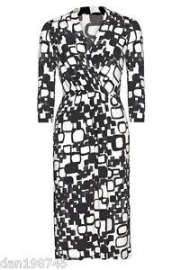 Bnwt-Long-Tall-Sally-Black-amp-White-Graphic-Jersey-Wrap-Dress-UK-12-B26
