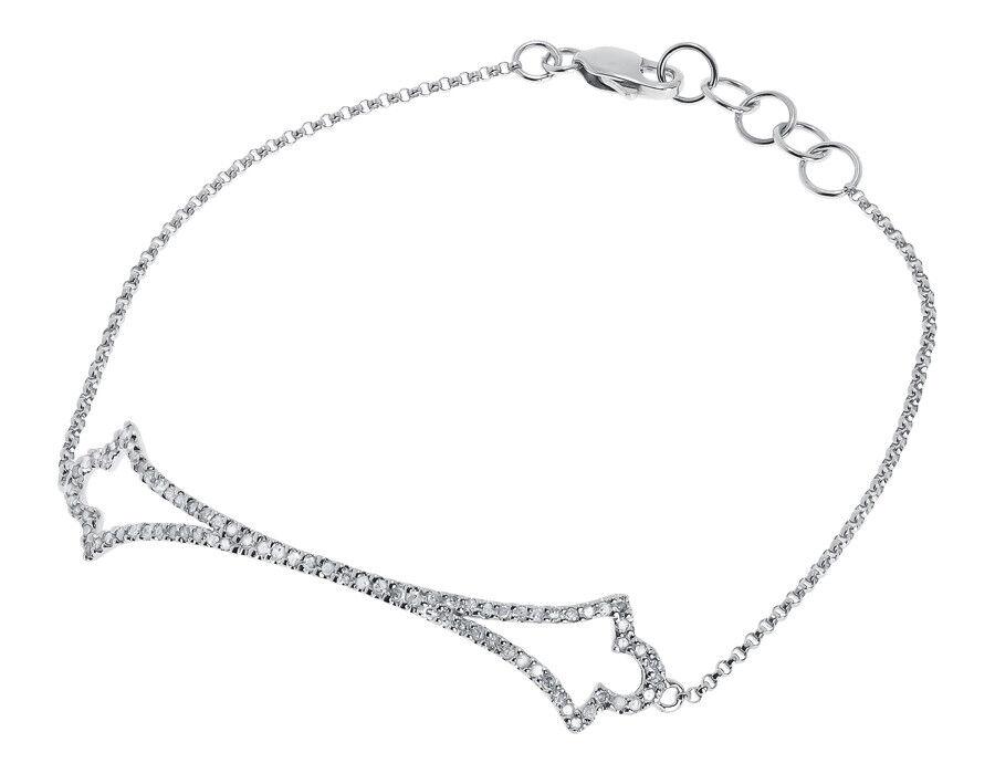 10k White gold Ladies Round Diamond Designer Chain Tennis Bracelet 0.50 ct