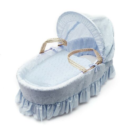Blue Broderie Anglaise Blue Kinder Valley Broderie Anglaise Moses Basket