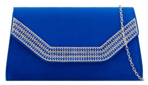 WOMENS LADIES FAUX SUEDE DIAMANTE FLAP ENVELOPE CLUTCH BAG EVENING BAG HANDBAG