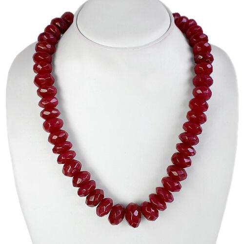 Top Excellente Qualité 749.00 Cts Naturel Facette Rouge Rubis Perles Collier Strand