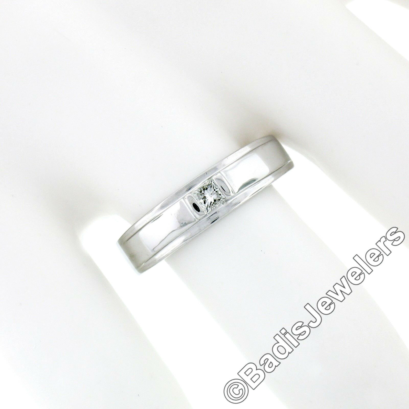Unisex 14k White Gold .15ct Princess Cut Bar Set … - image 3