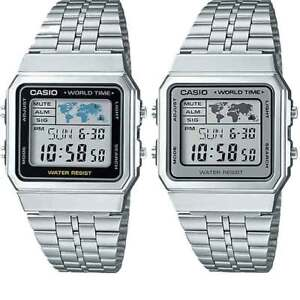 CASIO WATCH SILVER COLOUR A500WA - STOPWATCH, 5-ALARMS, TIMER, WORLD TIME, LIGHT