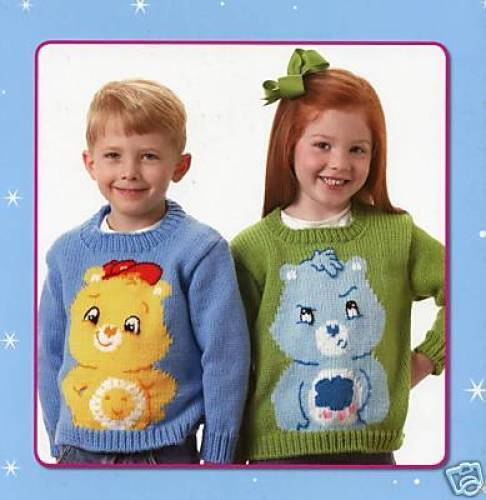 CARE BEARS KNIT SWEATERS FOR KIDS-5 Patterns-Knitting Craft Idea Book #4276