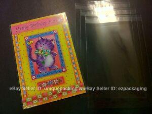 100 4-5/8 x5-3/4 Crystal Clear (A2+) Card Resealable Poly Cello Cellophane Bags