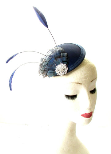 Navy Blue Silver Pheasant Feather Fascinator Pillbox Hair Races Hat Vintage 1835