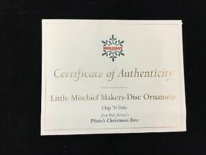 """WDCC Disney Certificate of Authenticity """"Little Mischief Makers"""" Chip 'N Dale"""