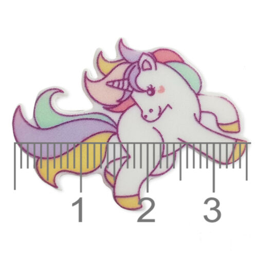 Flying Unicornio Flatback Acrílico Cabujones Adorno Decoden Craft 5 un