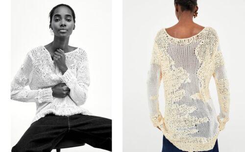 Knit Grob Pull écru Crochet Pull Zara oversize Häkel Limited UqdFPwAP
