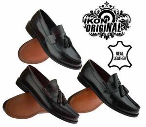 Mens-Ikon-Original-Leather-Sole-Tassel-Loafers-Slip-On-Formal-Shoes-Size