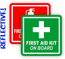 REFLECTIVE 3inch Fire Extinguisher | FIrst Aid Kit On Board Decals | Stickers