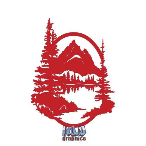 MOUNTAINS w// TREES vinyl Sticker Lake Pine Tree High Altitude Rocky Alaska LIFE