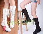 Women Girls Dancing Shoes PUNK Canvas Flat Tall Boots Zip Lace Up Good Sneaker