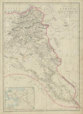 Turkey In Asia East Armenia Kurdistan Assyria Mesopotamia Iraq Weller 1862 Map Various Styles Antiques Maps, Atlases & Globes