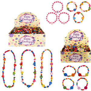 Wooden Bead Bracelet Band Necklace Kids Girls Pink Favours Loot Party Bag Filler