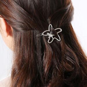 Women-Hairpins-Hollow-Gold-Silver-Starfish-Pentagram-Metal-Fashion-Hair-Clips-r